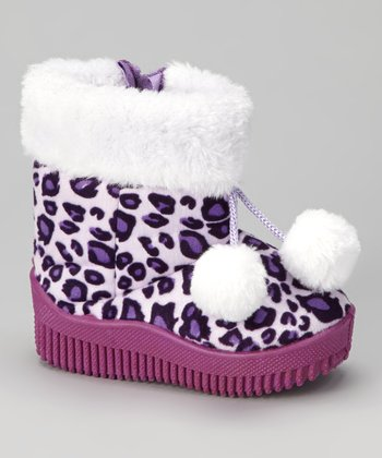 Purple Animal Pom-Pom Boot