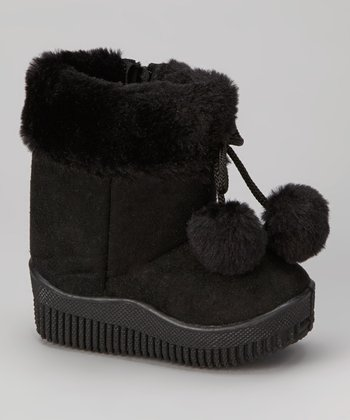 Black Faux Suede Pom-Pom Boot