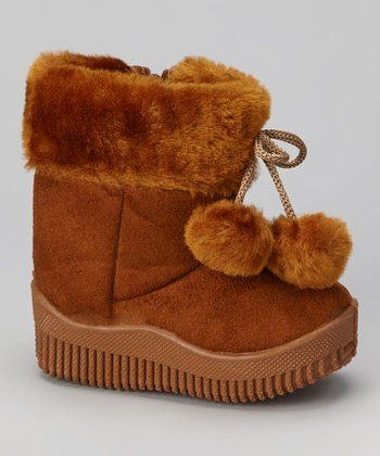 Coffee Faux Suede Pom-Pom Boot