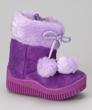 Purple Faux Suede Pom-Pom Boot