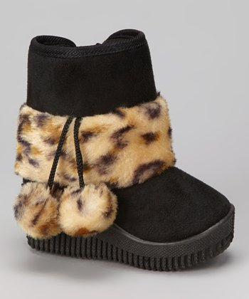 Black Leopard Faux Fur Boot