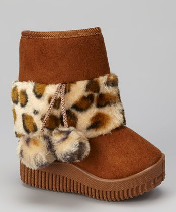 Light Coffee Leopard Faux Fur Boot