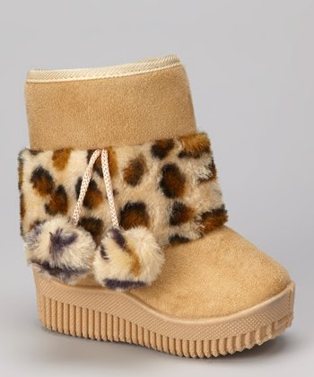 Beige Leopard Faux Fur Boot