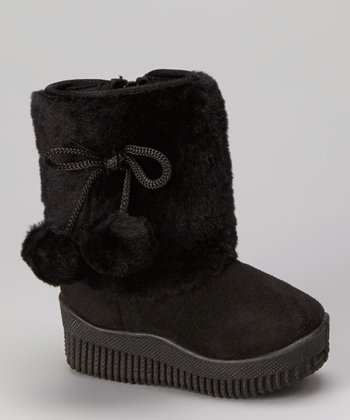 Black Faux Fur Shaft Boot