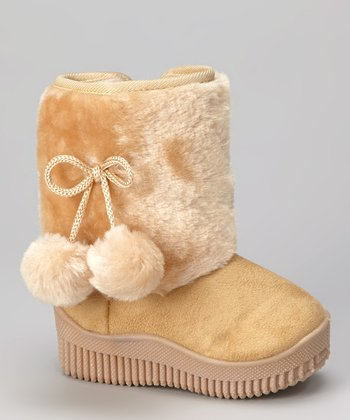 Beige Faux Fur Shaft Boot