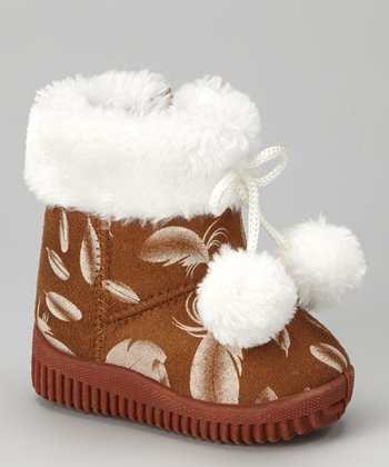 Beige Feather Pom-Pom Boot