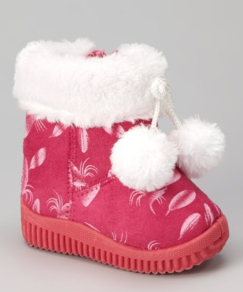 Fuchsia Feather Pom-Pom Boot