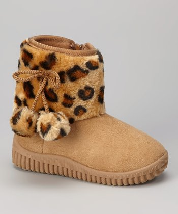 Beige Leopard Shaft Boot
