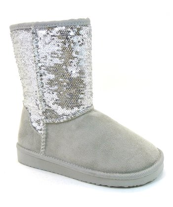 Silver Sequin Bling Boot