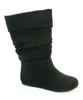 Black Faux Suede Images Boot