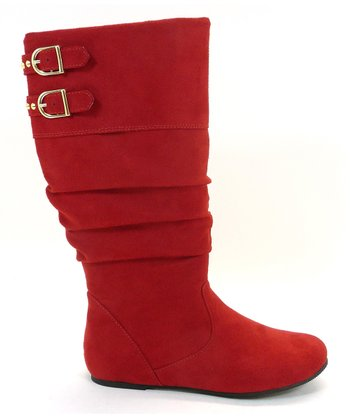 Red Faux Suede True Boot