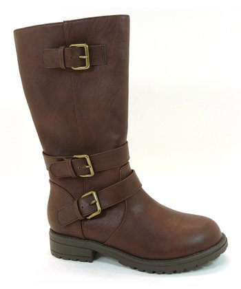 Brown Buckle Tulip Boot