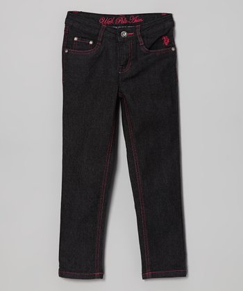 Black & Pink Skinny Jeans - Toddler & Girls