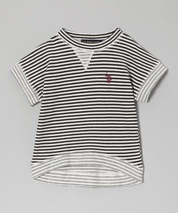Black & White Stripe Tee - Girls