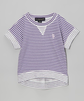 Purple & White Stripe Tee - Girls