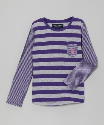 Purple & Gray Stripe Long-Sleeve Tee - Girls