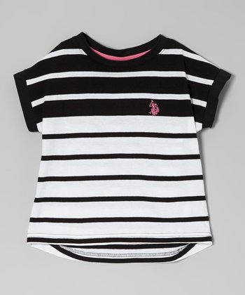 Black & White Color Block Stripe Tee - Toddler & Girls