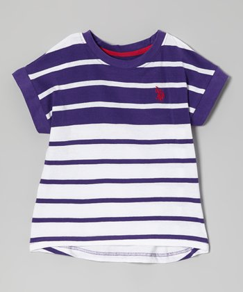 Purple & White Color Block Stripe Tee - Toddler & Girls