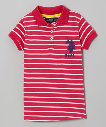 Red & White Stripe Polo - Toddler & Girls