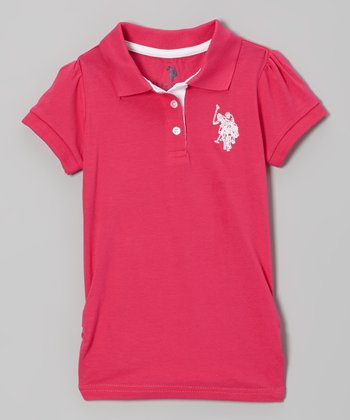 Fuchsia Puff-Sleeve Polo - Toddler & Girls