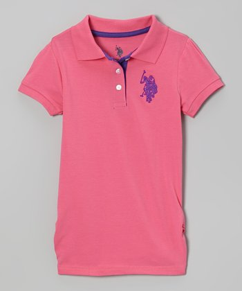 Pink Puff-Sleeve Polo - Toddler & Girls