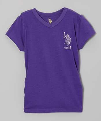 Purple V-Neck Tee - Girls