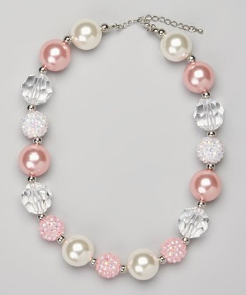 Pink & Ivory Chunky Bead Necklace