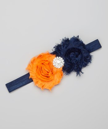Navy & Orange Rhinestone Flower Headband