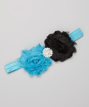 Blue & Black Rhinestone Flower Headband