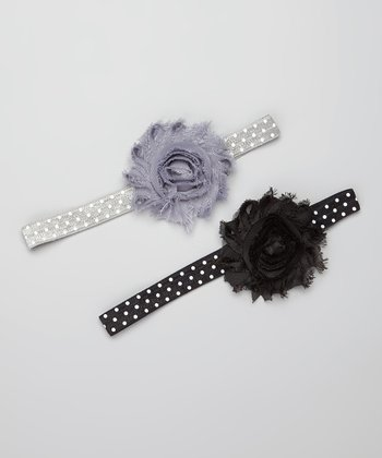 Black & Gray Polka Dot Flower Headband Set