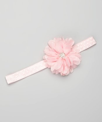 Light Pink Polka Dot Rhinestone Flower Headband