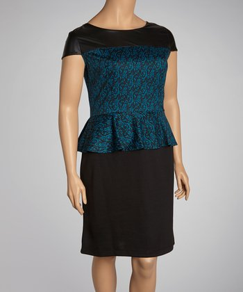 Blue & Black Abstract Color Block Peplum Dress - Plus