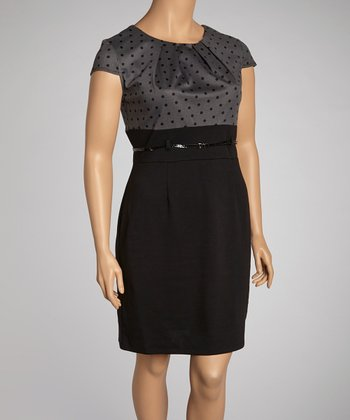 Charcoal & Black Polka Dot Belted Dress - Plus