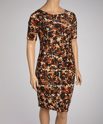 Black & Brown Floral Shirred Dress - Plus