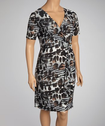 Black & Gray Abstract Surplice Dress - Plus