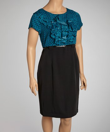 Ocean & Black Polka Dot Ruffle Belted Dress - Plus