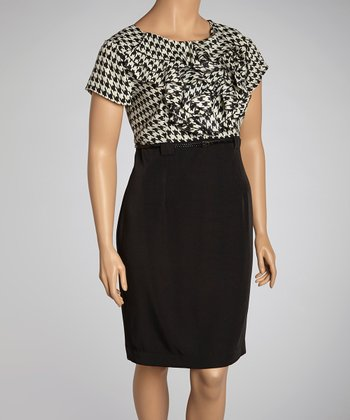 Ivory & Black Houndstooth Ruffle Belted Dress - Plus