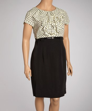 Ivory & Black Polka Dot Ruffle Belted Dress - Plus