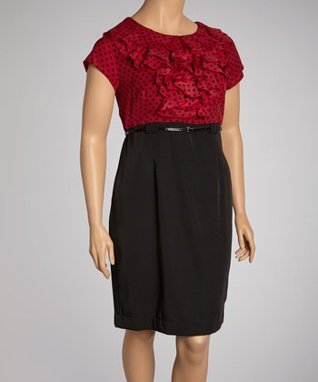 Berry & Black Polka Dot Ruffle Belted Dress - Plus