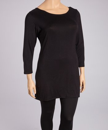 Black Three-Quarter Sleeve Tunic - Plus