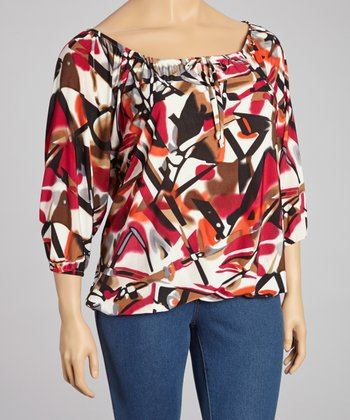 Red & Gray Abstract Keyhole Peasant Top - Plus