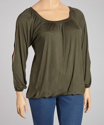 Olive Split Sleeve Top - Plus