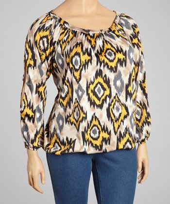 Beige & Yellow Ikat  Split Sleeve Top - Plus