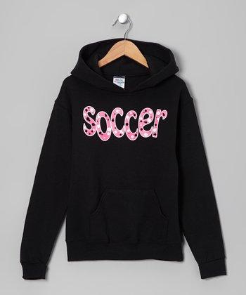 Dance World Bazaar Black & Pink 'Soccer' Bubbles Hoodie - Girls & Women