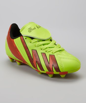 Lime & Orange 'Foot Ball' Cleat