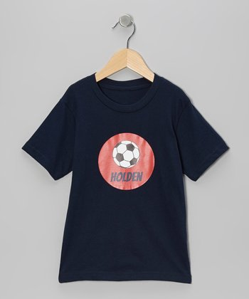 Navy Soccer Ball Personalized Tee - Boys