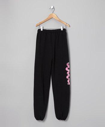 Dance World Bazaar Black & Pink 'Soccer' Bubbles Sweatpants - Girls & Women