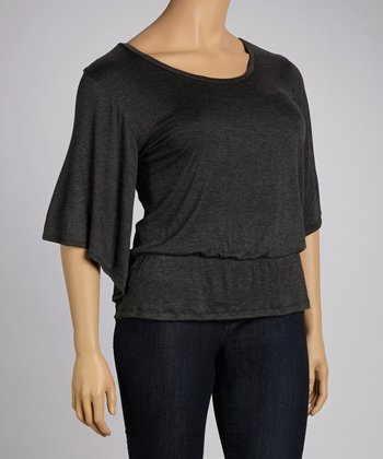 Charcoal Cape-Sleeve Top - Plus