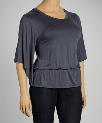 Gray Cape-Sleeve Top - Plus