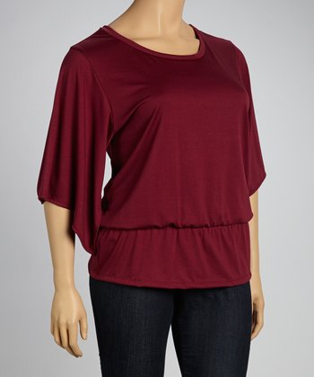 Burgundy Cape-Sleeve Top - Plus